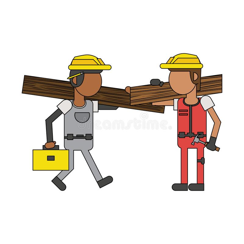 Рабочий-строители с мультфильмами инструментов безликими иллюстрация штока