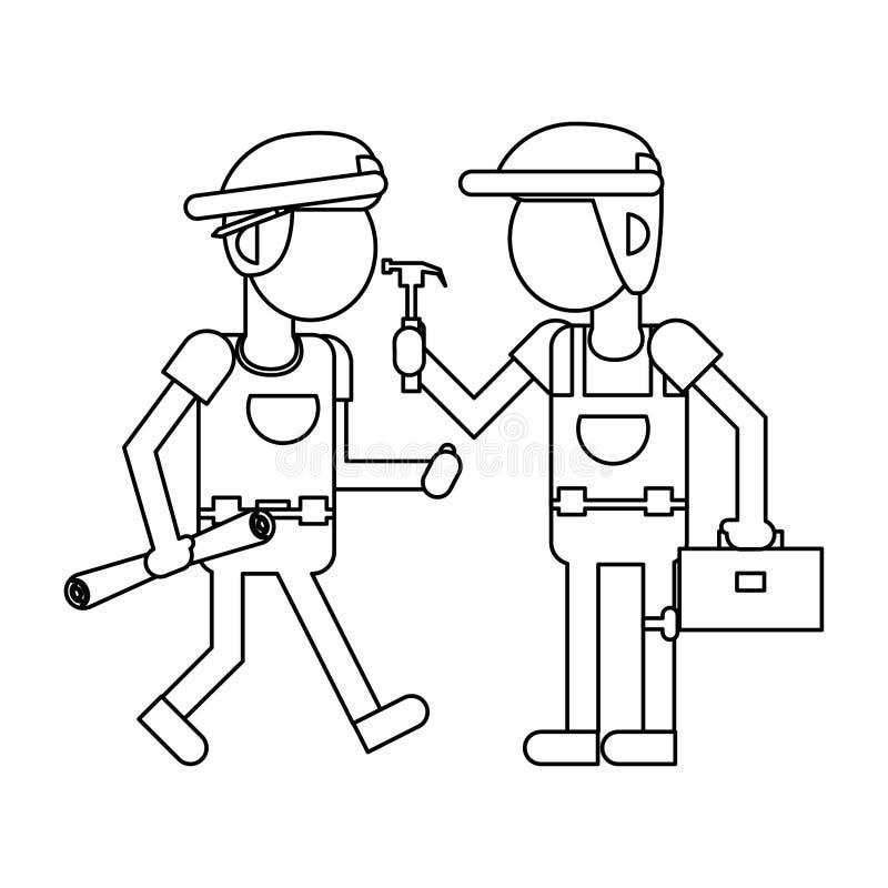 Рабочий-строители с мультфильмами инструментов в черно-белое безликом бесплатная иллюстрация