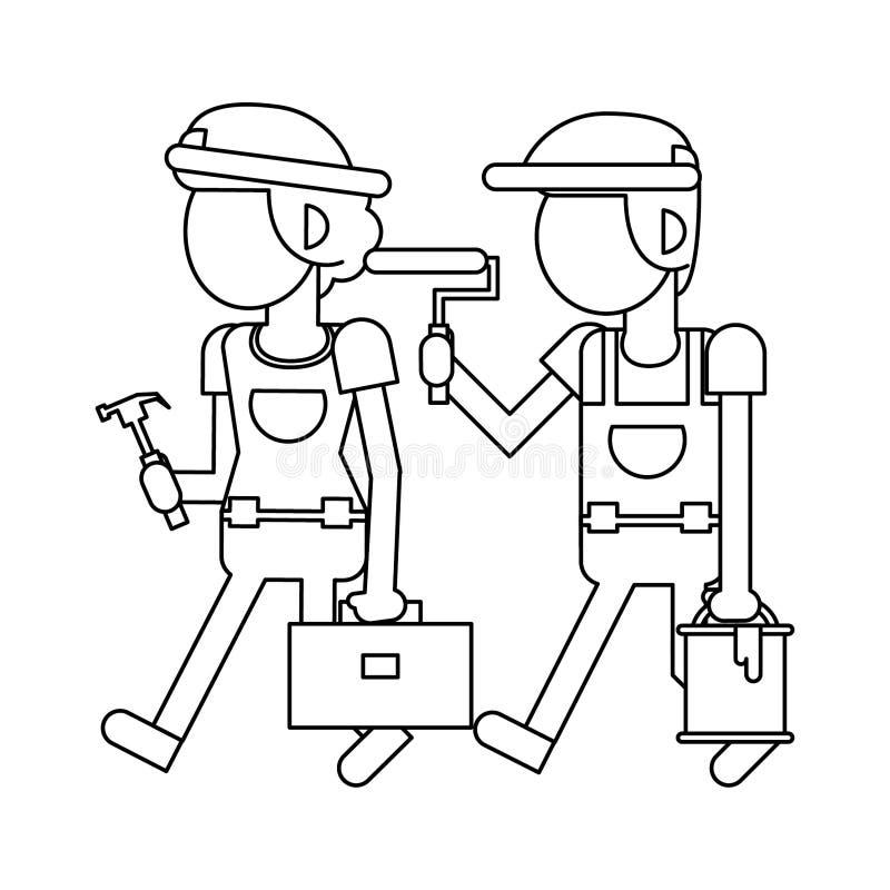 Рабочий-строители с мультфильмами инструментов в черно-белое безликом иллюстрация вектора