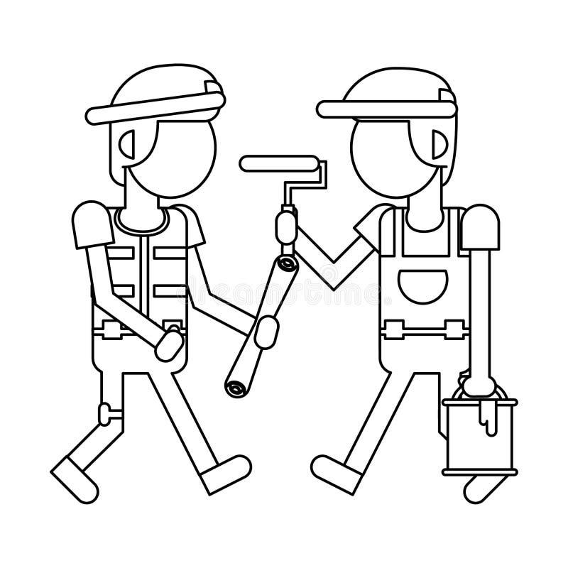 Рабочий-строители с мультфильмами инструментов в черно-белое безликом иллюстрация штока