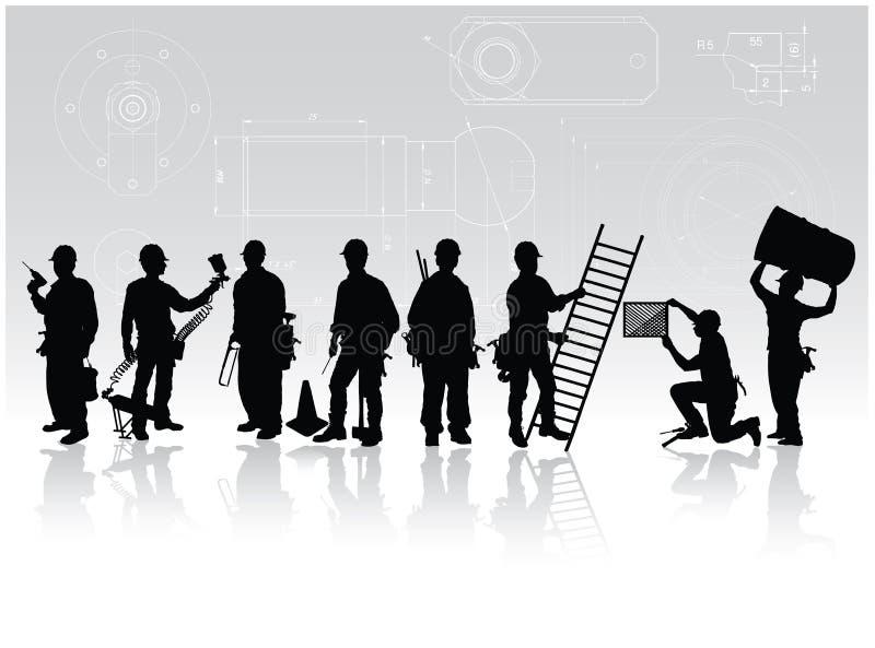 рабочий-строители иллюстрация вектора