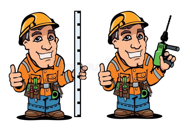 Рабочий-строитель в прозодеждах также вектор иллюстрации притяжки corel стоковое изображение