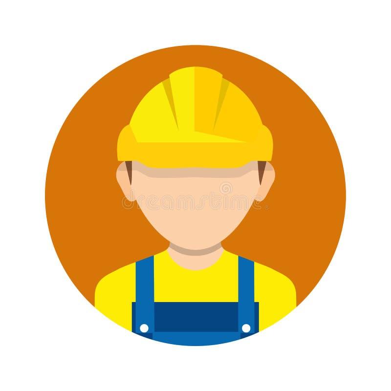 Рабочий-строитель, значок построителя изолированный на предпосылке Работник иллюстрация вектора