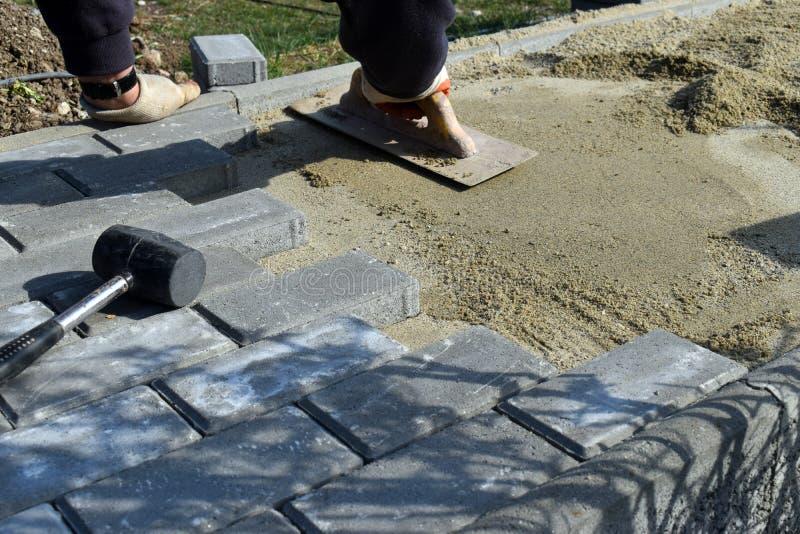 Рабочий-строитель кладет камень конкретной мостовой для работы тропы на строительную площадку Вымощая каменный работник кладет стоковое фото rf