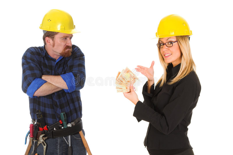 рабочий-строитель коммерсантки стоковая фотография rf