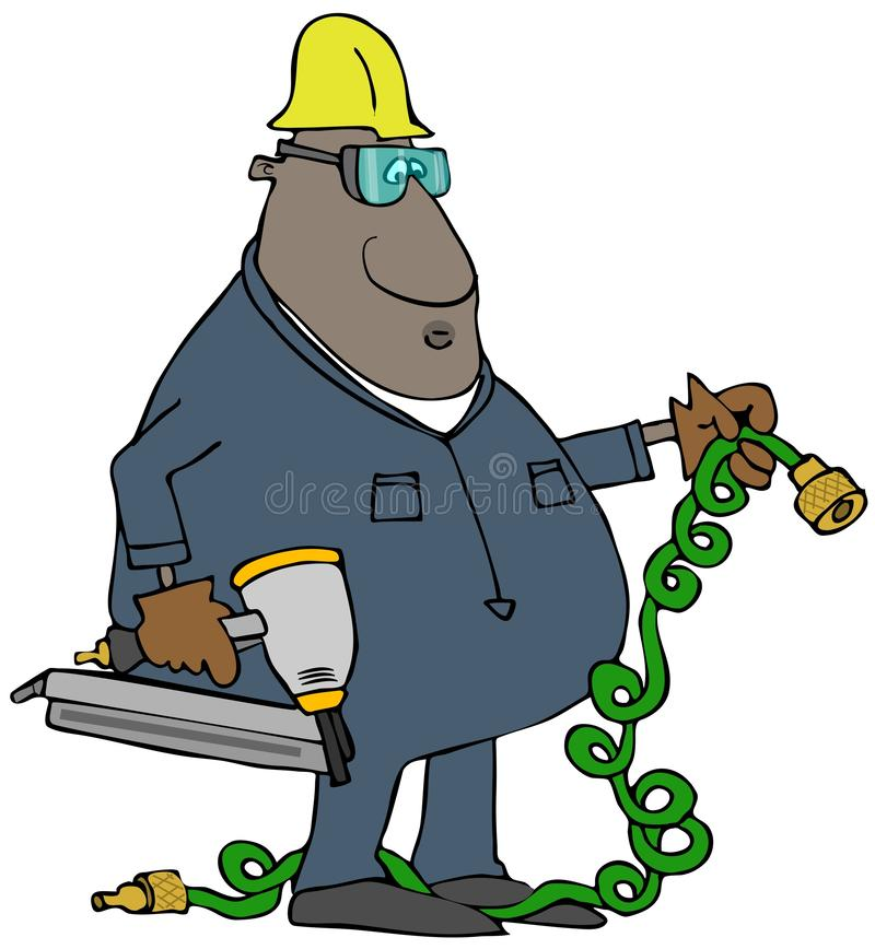 Рабочий-строитель с nailer и шлангом воздуха бесплатная иллюстрация