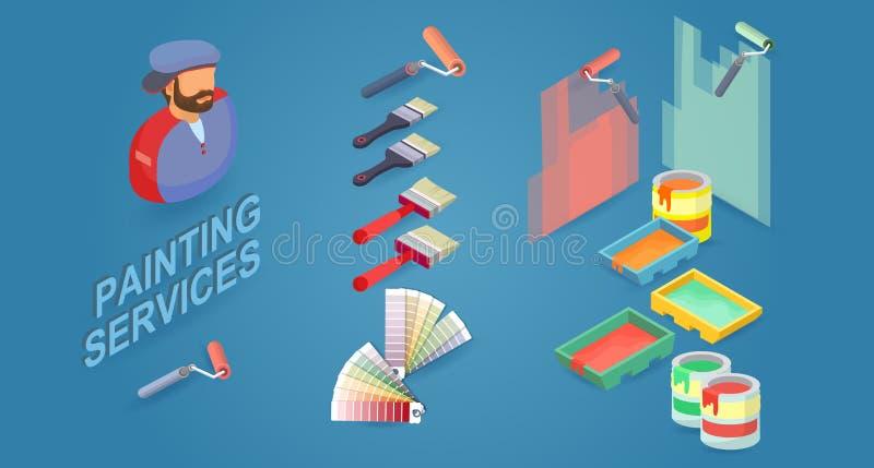 Рабочий-строитель, щетки, ролики, образцы краски, и паллеты r иллюстрация вектора