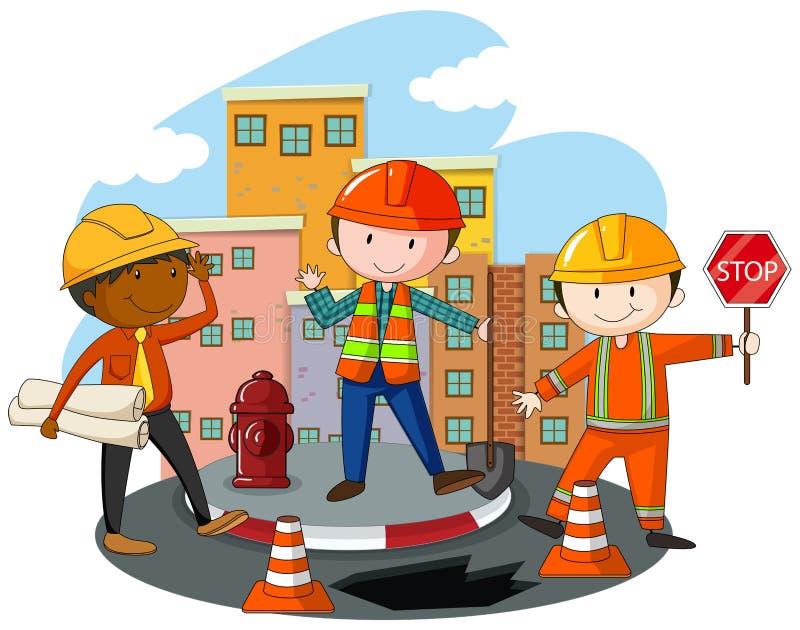 Рабочий-строители на строительной площадке иллюстрация вектора