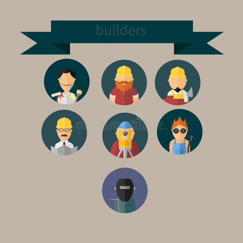 Рабочий-строители установили значки для вашего дизайна стоковое изображение