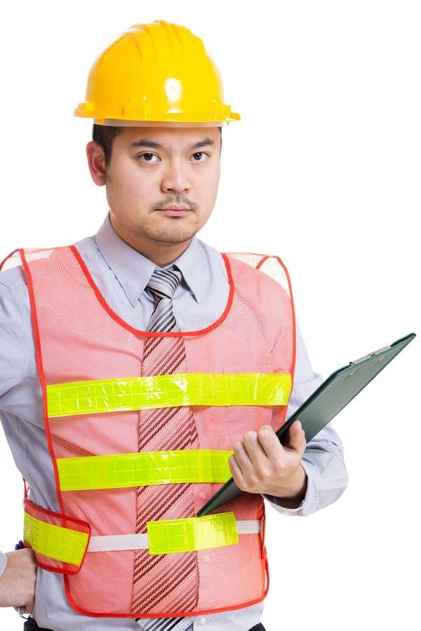 Рабочий-строитель Азии и пусковая площадка файла стоковые изображения rf
