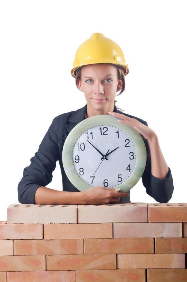 Рабочий-строитель женщины стоковая фотография