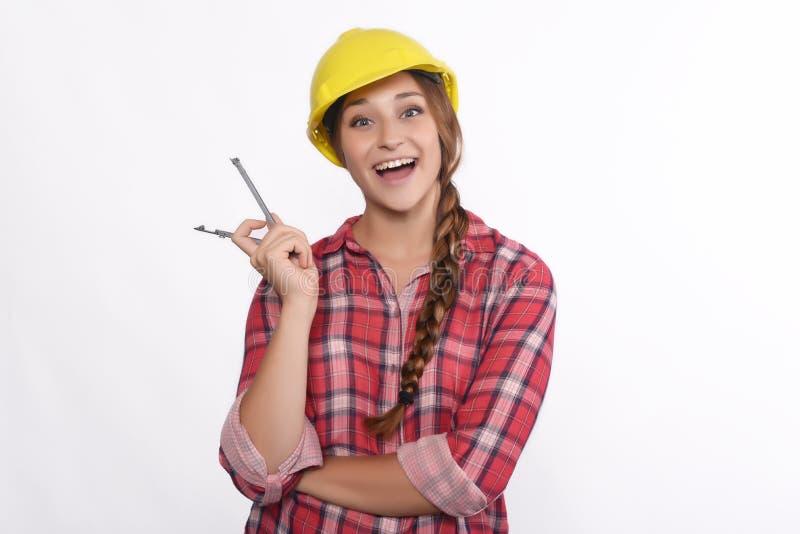 Рабочий-строитель женщины стоковое изображение