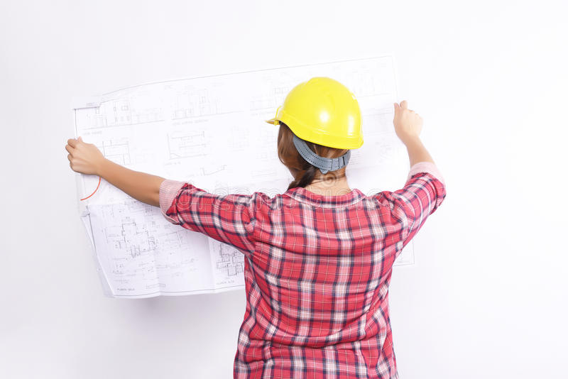 Рабочий-строитель женщины стоковые изображения rf