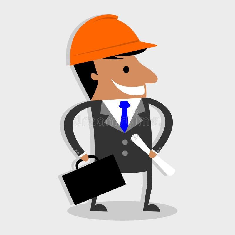 Рабочий-строитель, инженер или архитектор с чемоданом и характером светокопий проекта бесплатная иллюстрация