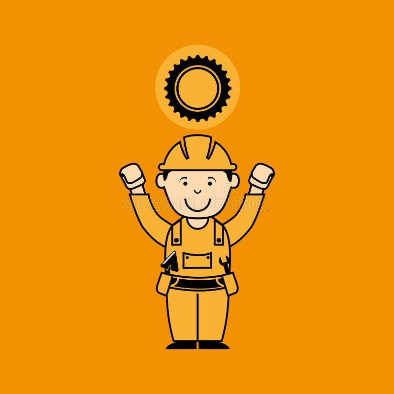 рабочий-строитель человека воплощения с значком двигателя шестерни иллюстрация штока