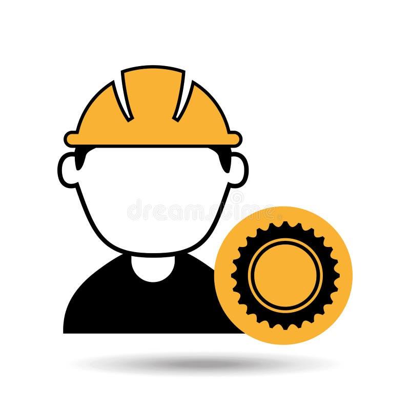 рабочий-строитель человека воплощения с значком двигателя шестерни бесплатная иллюстрация