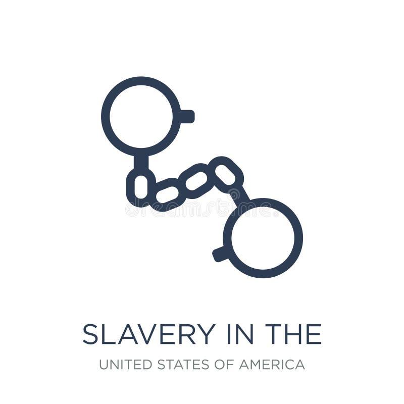 рабство в значке Соединенных Штатов Ультрамодное плоское рабство вектора внутри иллюстрация штока