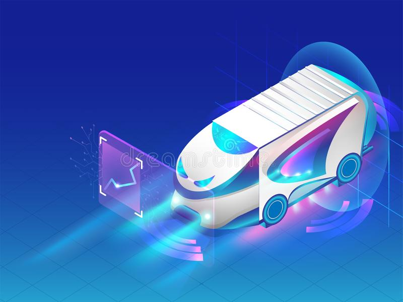 Равновеликая автономная шина изолированная на сияющей голубой предпосылке, Futu бесплатная иллюстрация