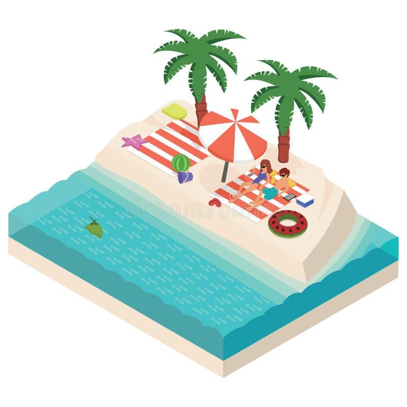 Равновеликая девушка и мальчик ослабляя на иллюстрации вектора пляжа иллюстрация штока