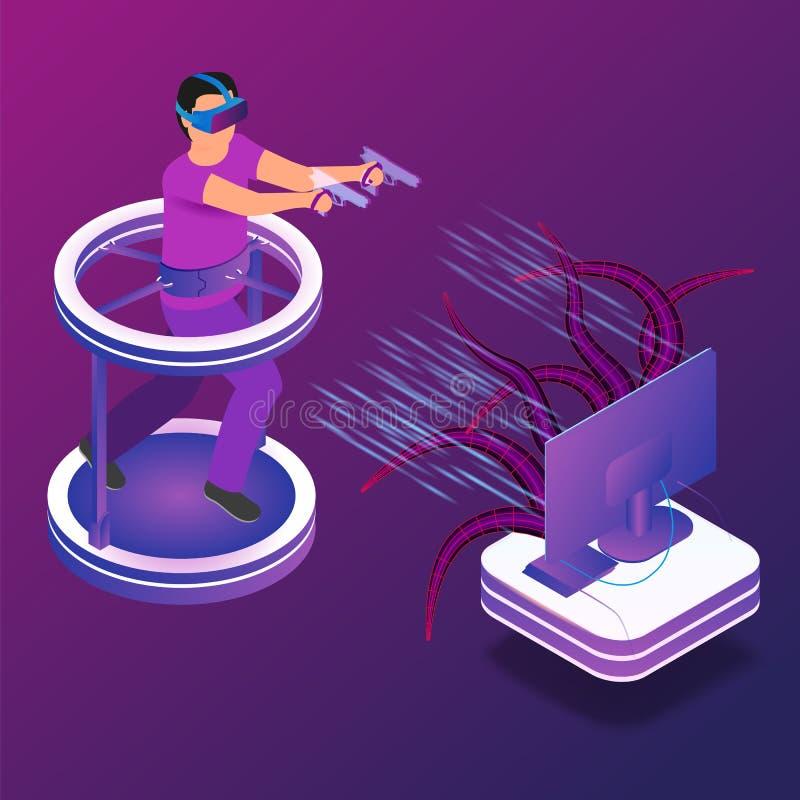 Равновеликая игра иллюстрации в виртуальной реальности иллюстрация штока
