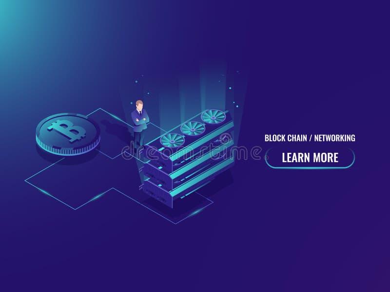 Равновеликая иллюстрация большой концепции фермы минирования, комнаты сервера вектора, горнорабочей cruptocurrency bitcoin, вклад бесплатная иллюстрация