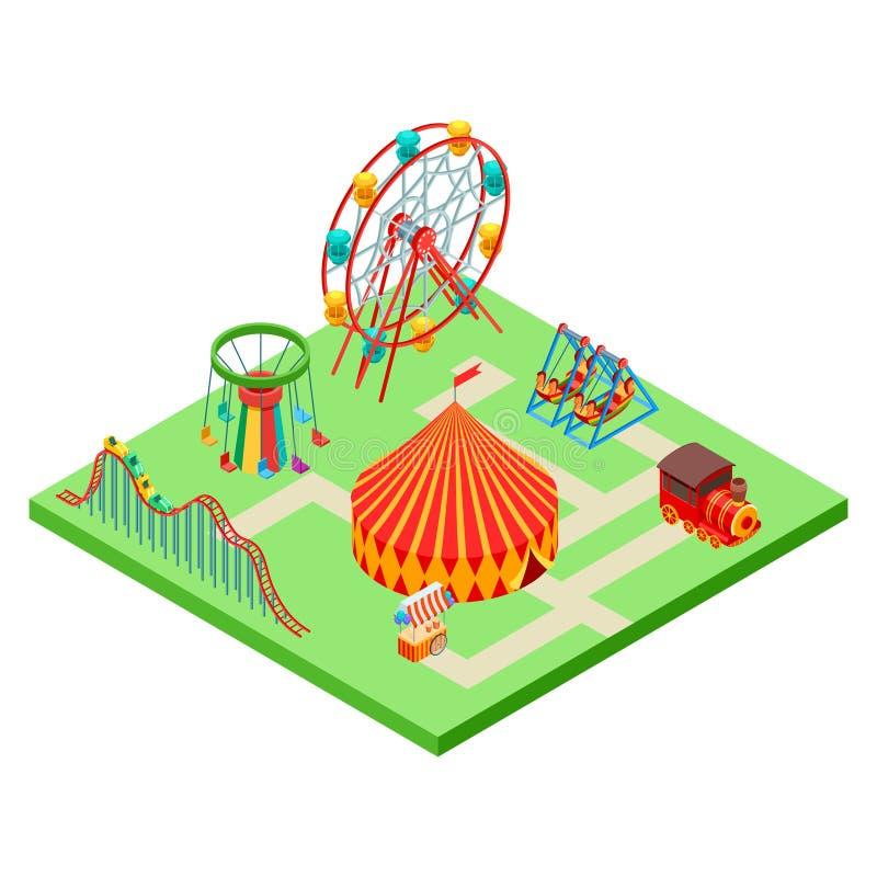 Равновеликая иллюстрация вектора парка атракционов изолированная на белизне иллюстрация вектора