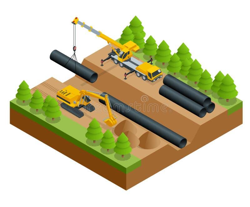 Равновеликая иллюстрация вектора процесса конструкции Строительство на класть трубы трубопровода в иллюстрация штока