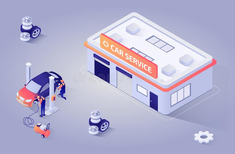 Равновеликая иллюстрация для обслуживания краски автоматического магазина бесплатная иллюстрация