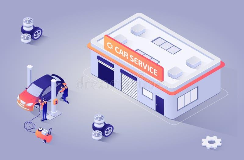Равновеликая иллюстрация для обслуживания краски автоматического магазина иллюстрация штока