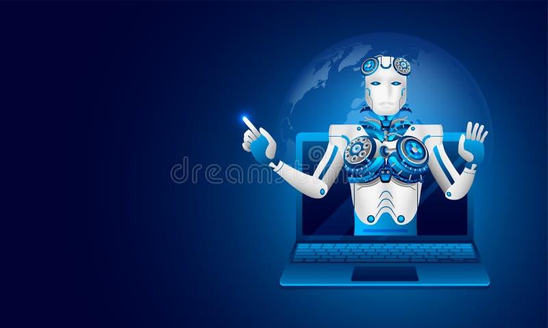 Равновеликая иллюстрация робота на компьтер-книжке на сияющем голубом backgr бесплатная иллюстрация