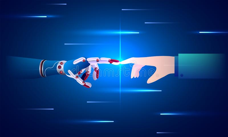 Равновеликая иллюстрация робототехнической руки и человеческого соединяться руки иллюстрация вектора