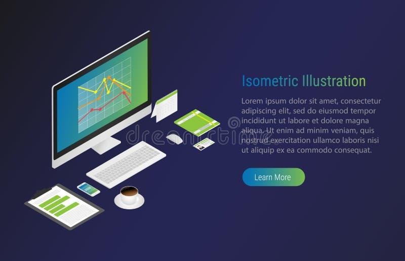 Равновеликая иллюстрация с компьтер-книжкой хозяйственно вектор бесплатная иллюстрация
