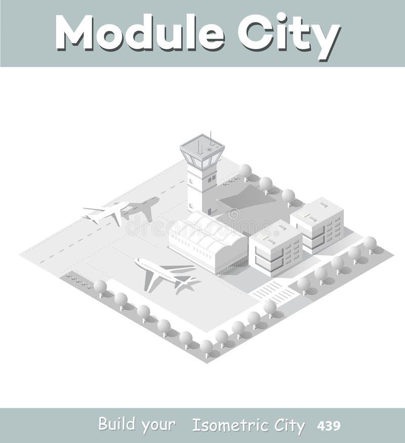 Равновеликая карта аэропорта города иллюстрация вектора