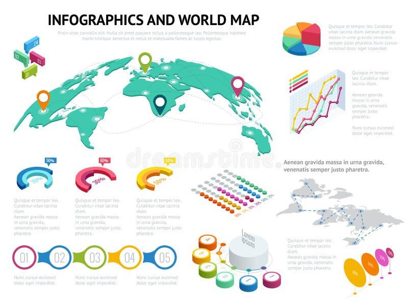 Равновеликая карта мира с комплектом элементов infographics Большой комплект infographics с значками данных, диаграммами карты ми иллюстрация штока