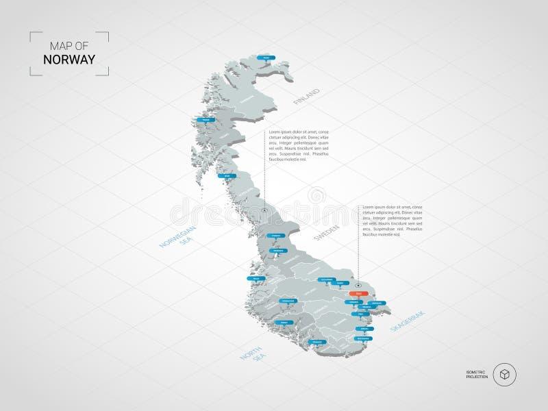 Равновеликая карта Норвегии с именами и административным округом города иллюстрация штока