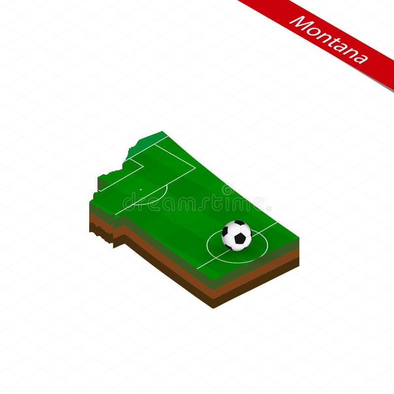 Равновеликая карта штата США Монтаны с футбольным полем Шарик футбола в центре футбольного поля бесплатная иллюстрация