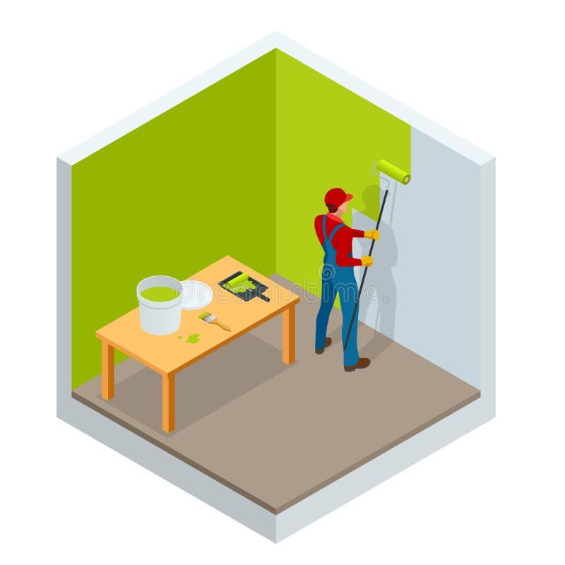 Равновеликая картина щетки ролика, картина работника на стальной поверхностной стене щеткой ролика для защиты и корозия бесплатная иллюстрация