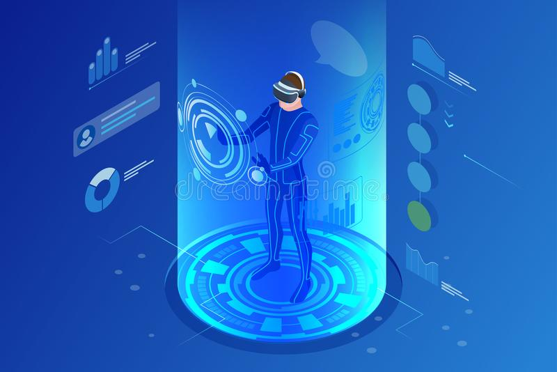 Равновеликая концепция виртуальной реальности Шлемофон виртуальной реальности человека нося бесплатная иллюстрация