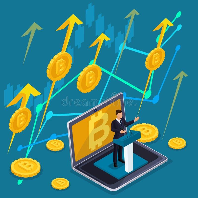 Равновеликая концепция дела, секретная валюта, bitcoin растет, запасы и вклады приходят вверх иллюстрация штока