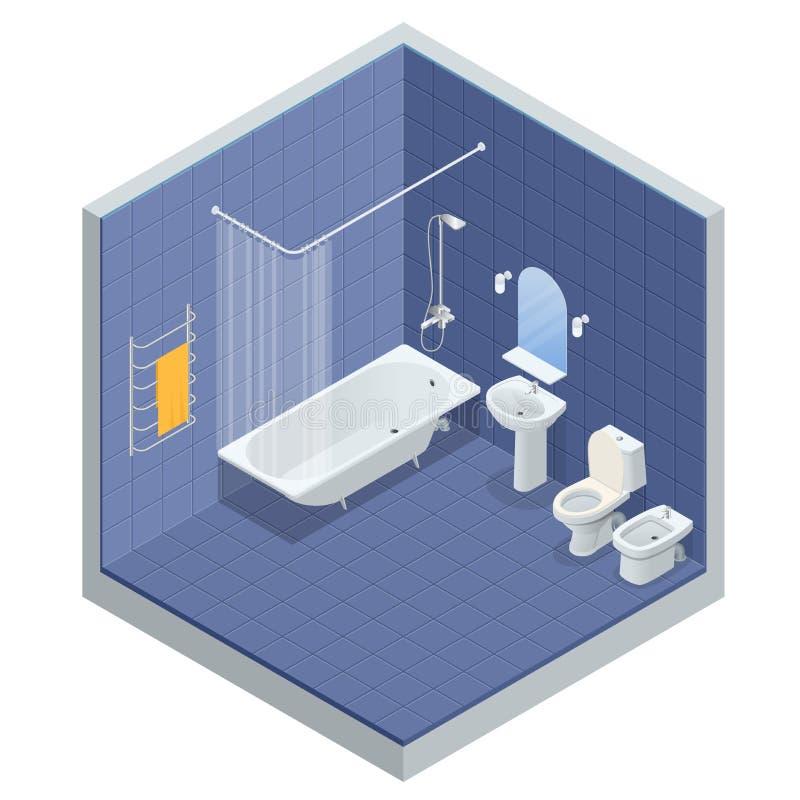 Равновеликая концепция дизайна интерьера ванной комнаты с ванной, зеркалом ливня и полотенцами, туалетом, биде, иллюстрацией вект иллюстрация вектора