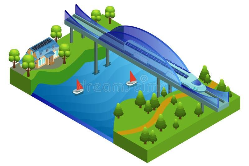 Равновеликая концепция железнодорожного моста иллюстрация штока