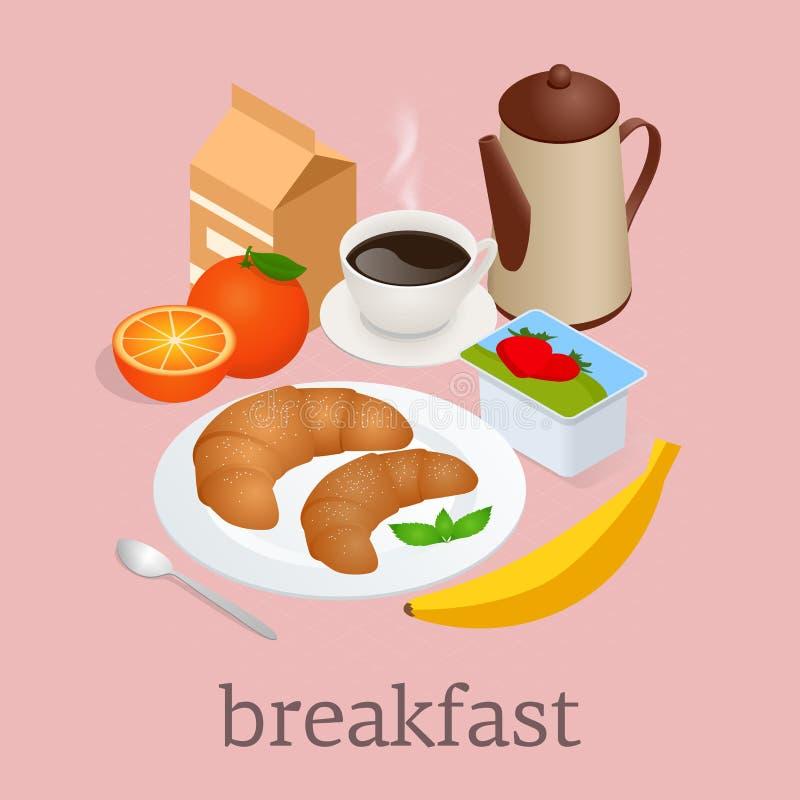 Равновеликая концепция завтрака и оборудования кухни Завтрак служил с кофе, апельсиновым соком, круассанами, хлопьями и иллюстрация вектора
