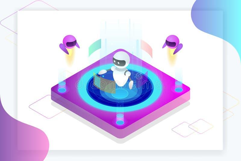 Равновеликая концепция искусственного интеллекта Технология и инженерство Учить и учить в мире цифров цифрово бесплатная иллюстрация