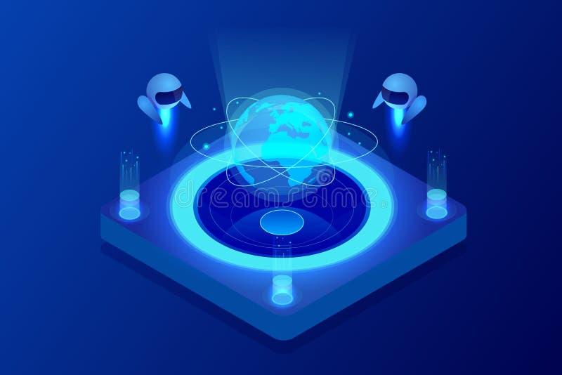Равновеликая концепция искусственного интеллекта Технология и инженерство Учить и учить в мире цифров цифрово иллюстрация штока