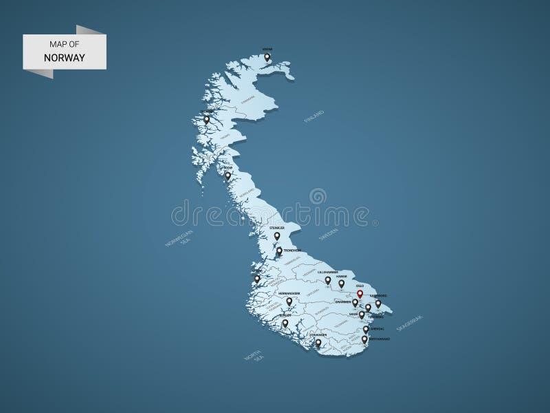 Равновеликая концепция карты вектора 3D Норвегии иллюстрация штока