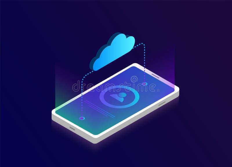 равновеликая концепция хранения облака мобильного телефона 3D Облако вектора с иллюстрацией передачи данных плоской бесплатная иллюстрация