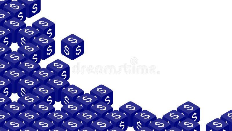 равновеликая кость 3D с иллюстрацией дизайна концепции доллара Соединенных Штатов Америки USD символа валюты, кризиса торговой во бесплатная иллюстрация