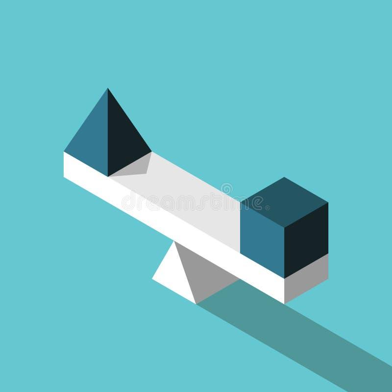 Равновеликая пирамида, куб, баланс иллюстрация вектора