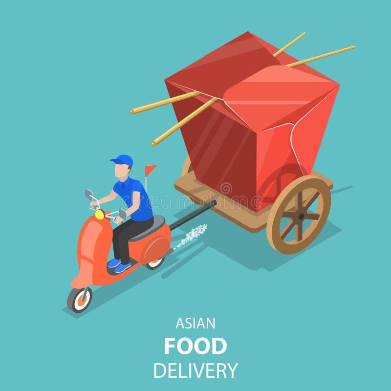 Равновеликая плоская концепция вектора азиатской доставки еды, японских суш иллюстрация вектора