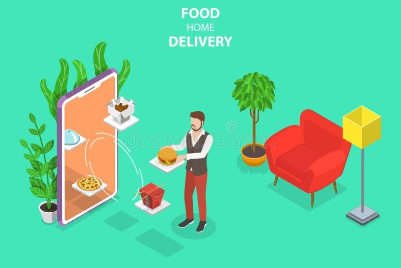 Равновеликая плоская концепция вектора доставки на дом еды, заказывания на линии иллюстрация вектора